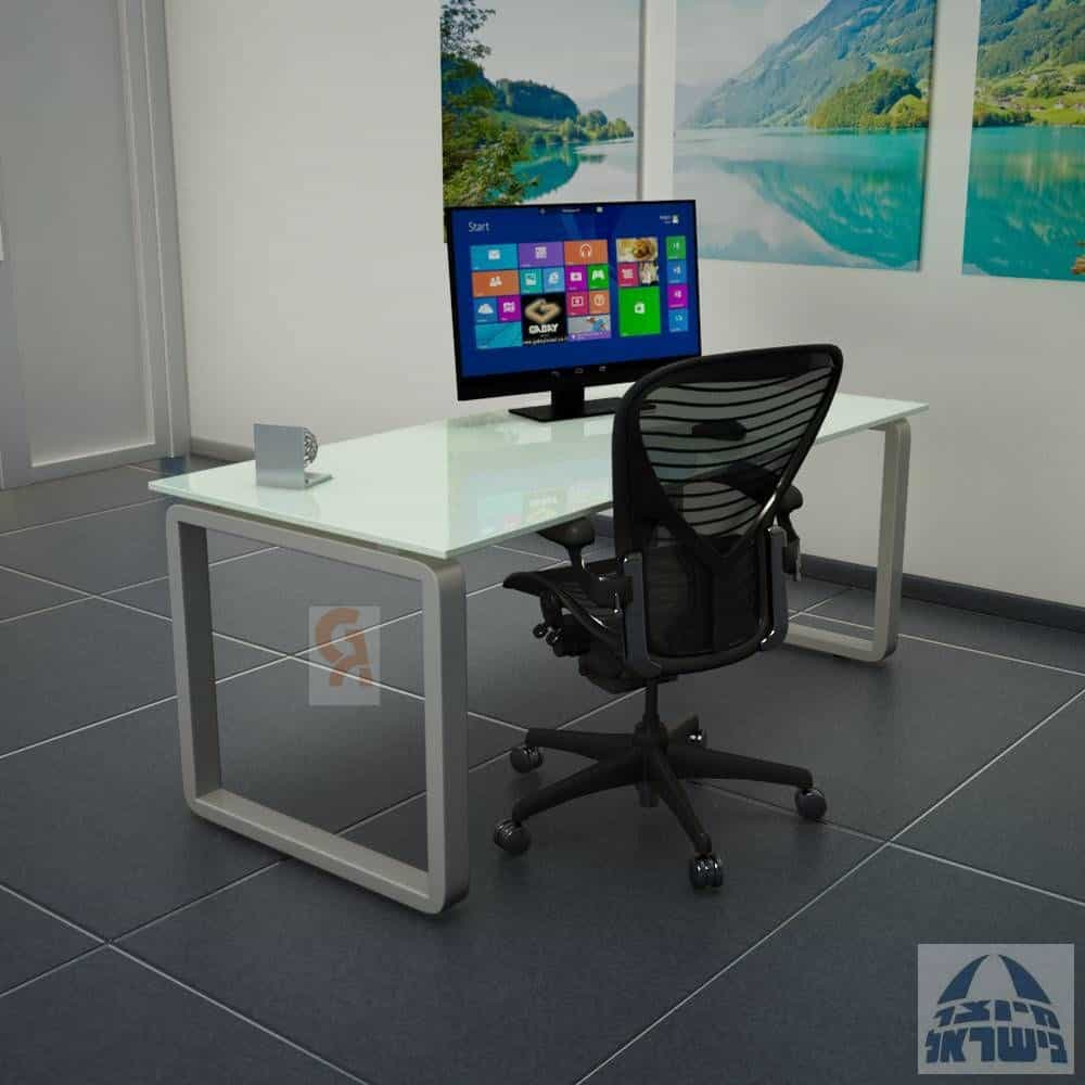 שולחן כתיבה דגם רונדו פלטה זכוכית מחוסמת