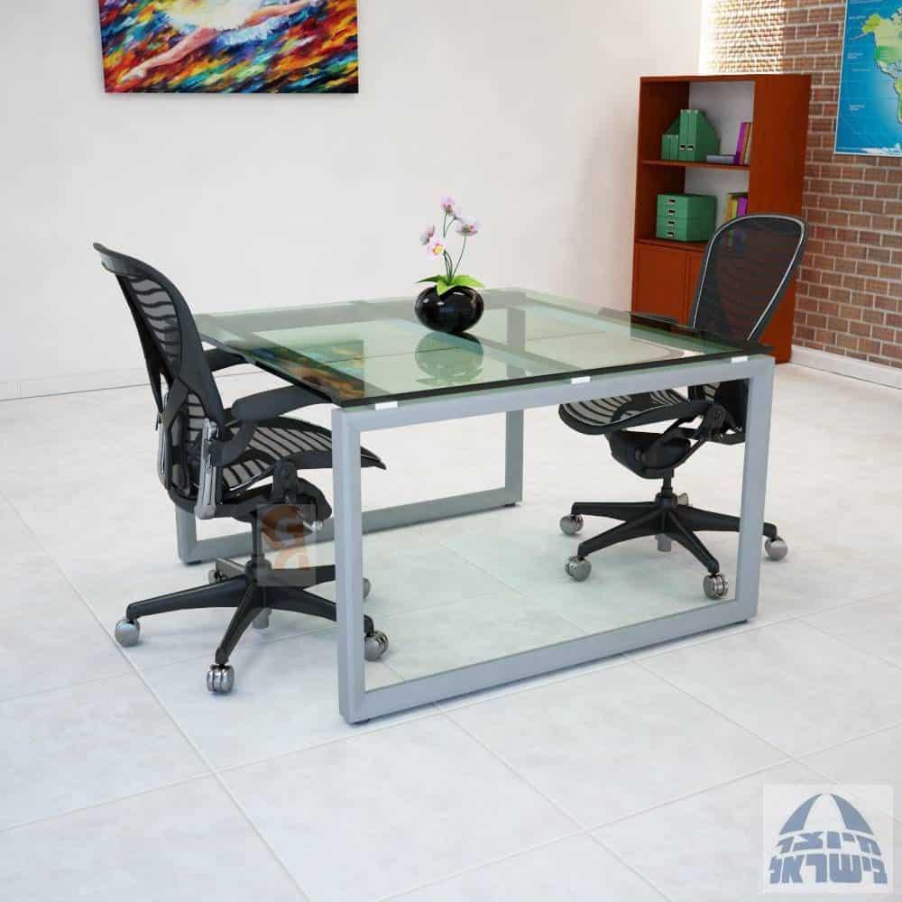 שולחן דיונים דגם יהלום פלטה זכוכית