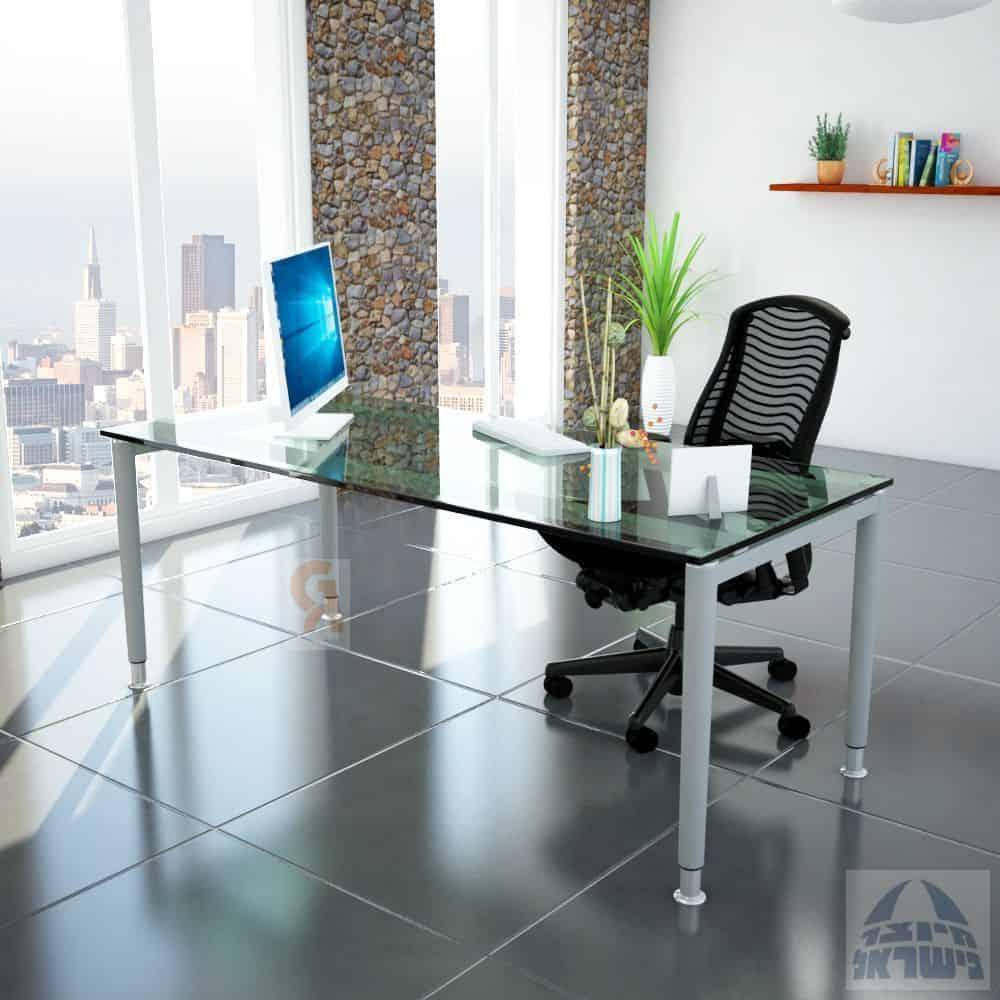 שולחן כתיבה זכוכית מחוסמת דגם תומר פלטה