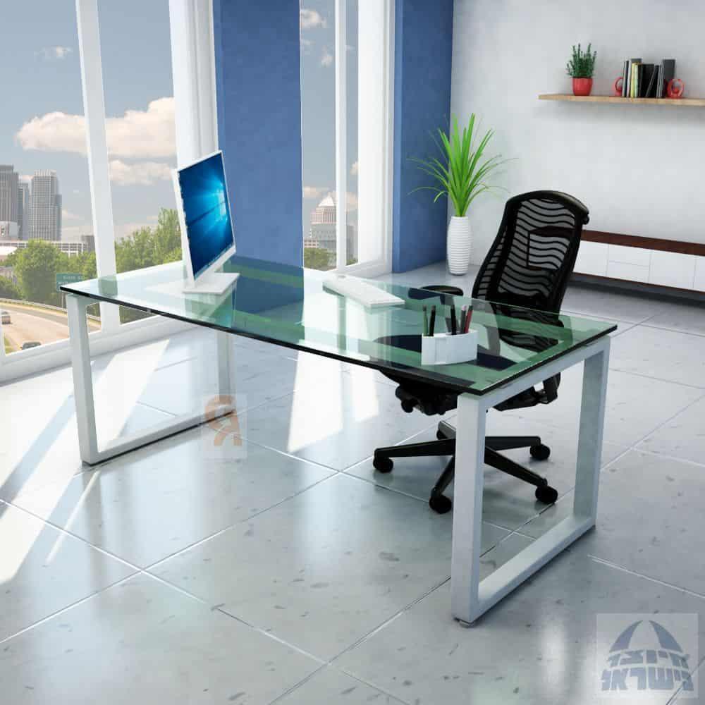 שולחן כתיבה דגם חלון פלטה זכוכית מחוסמת
