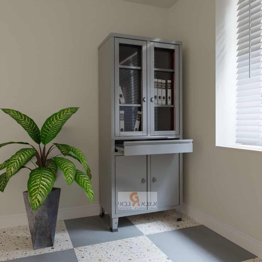 ארון ויטרינה 2 דלתות אטומות + 2 דלתות זכוכית + מגירה